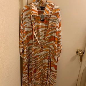 ASHLEY STEWART SATIN ZEBRA PRINT MAXI DRESS 26/28W